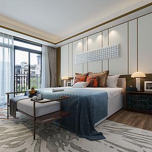 新中式臥室模型