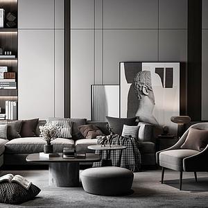 現代沙發茶幾組合模型