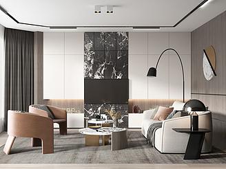 客廳沙發茶幾模型