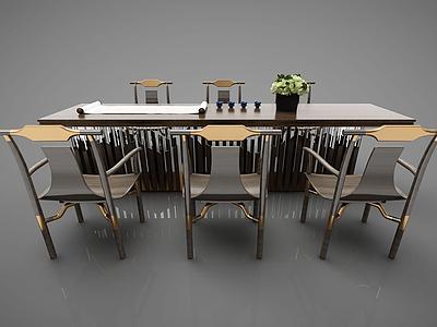 3d現代<font class='myIsRed'>書</font>桌椅模型
