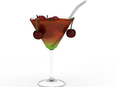 3d草莓飲品免費模型