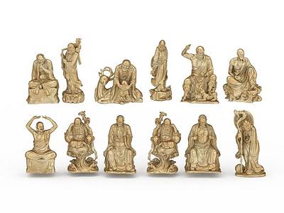 3d羅漢雕塑模型