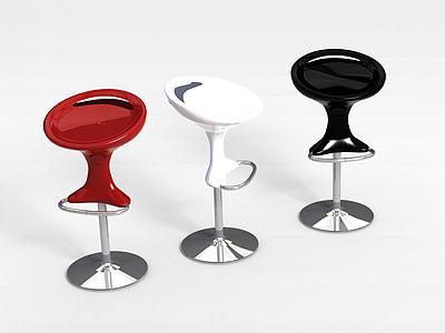 3d現代塑料吧椅模型