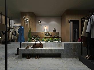 服裝店面室內裝飾模型