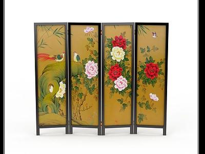 中式工藝畫屏風模型