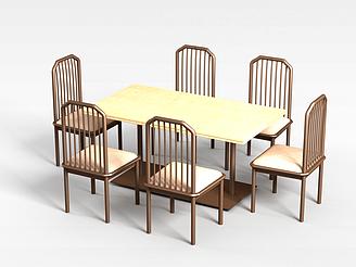中式餐廳桌椅模型
