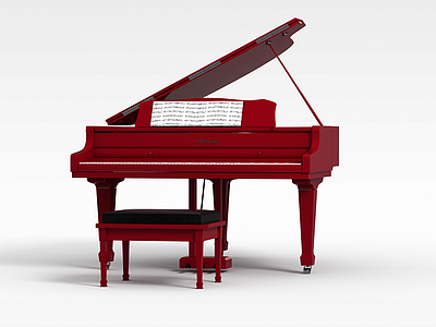 3d<font class='myIsRed'>紅色</font>鋼琴模型