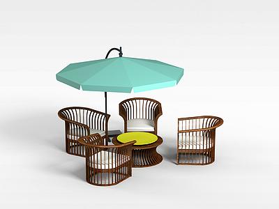 3d戶外乘涼椅子組合免費模型