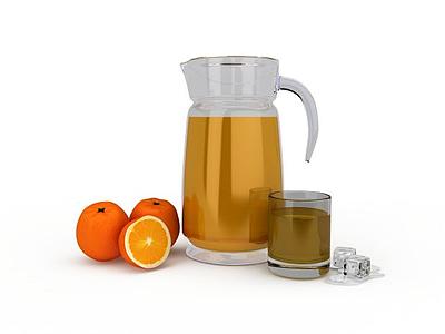 3d水果果汁模型