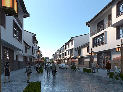 中式商業街模型3d模型