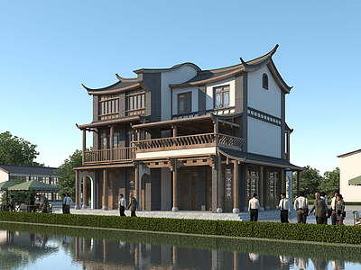 中式別墅模型3d模型