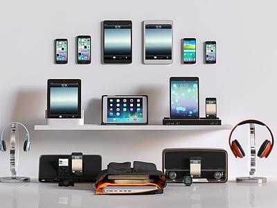 現代手機平板音響數碼產品模型3d模型