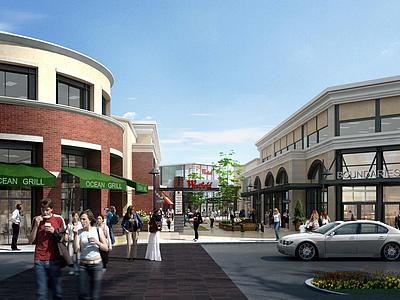 現代城市商業街3d模型