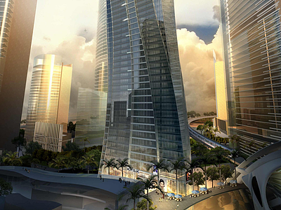 城市戶外建筑模型3d模型