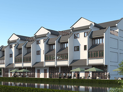 中式多層商住樓模型3d模型