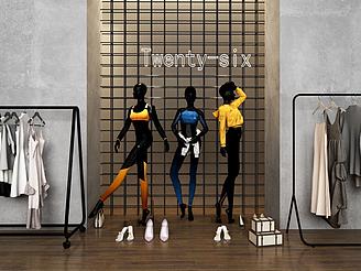 服裝人物模特衣服展示架模型