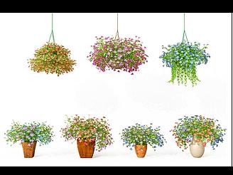 現代小花吊籃盆栽模型