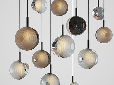 后現代玻璃球吊燈模型3d模型