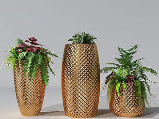 現代波斯葉盆栽模型