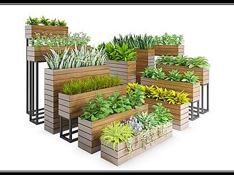 現代裝飾植物欄模型