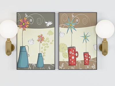 花瓶裝飾掛畫模型3d模型