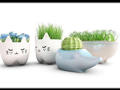 現代裝飾可愛盆栽模型3d模型