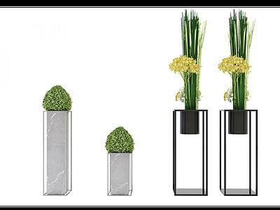 現代盆栽裝飾花架模型3d模型