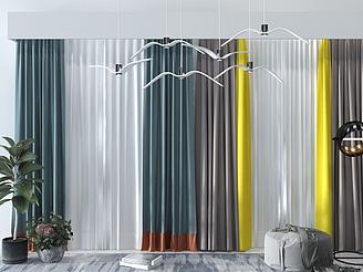 現代窗簾模型