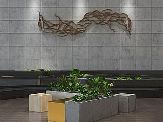 現代盆栽盆景植物模型