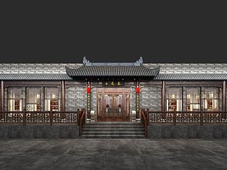 中式茶餐廳門頭模型