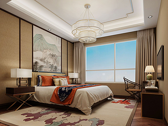 新中式風格酒店模型