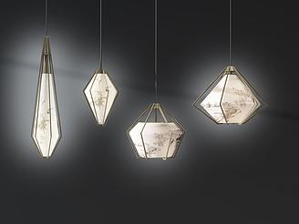 新中式吊燈模型