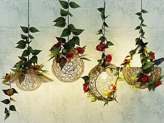 現代鮮花吊燈模型