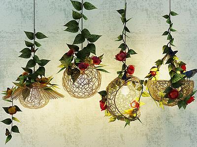 現代鮮花吊燈模型3d模型