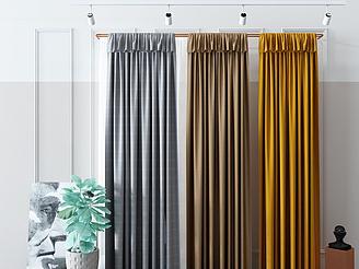現代窗簾落地簾模型