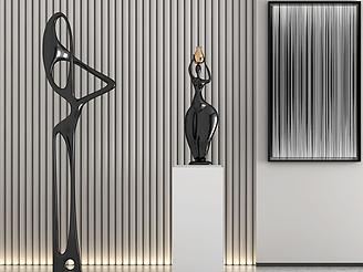 現代金屬雕塑模型