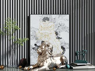 金屬獅子擺件模型