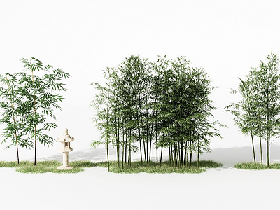 新中式竹子組合模型3d模型