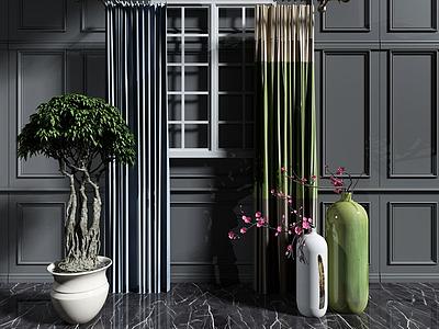 現代裝飾盆栽模型3d模型