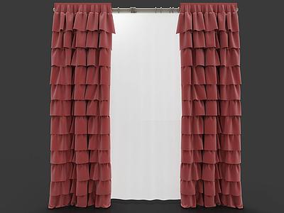 C4D3d歐式雙層窗簾模型模型