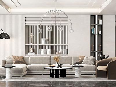 C4D現代輕奢風格客廳模型模型