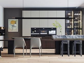現代開放式廚房模型