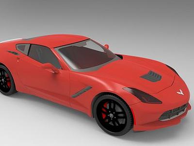 中國紅色汽車模型3d模型