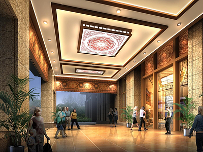 現代豪華酒店大堂3d模型