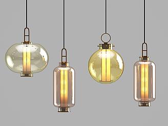 北歐玻璃吊燈模型