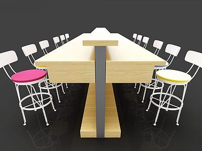 火鍋店餐桌椅模型3d模型