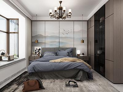 新中式臥室模型3d模型