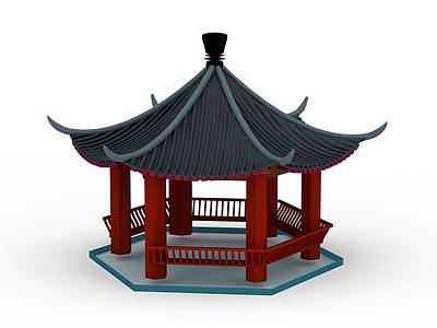 3d公園涼亭模型