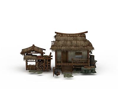 3d茅草屋模型