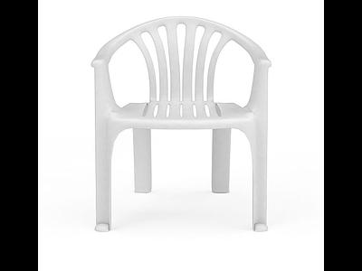 3d白色塑料靠椅免費模型